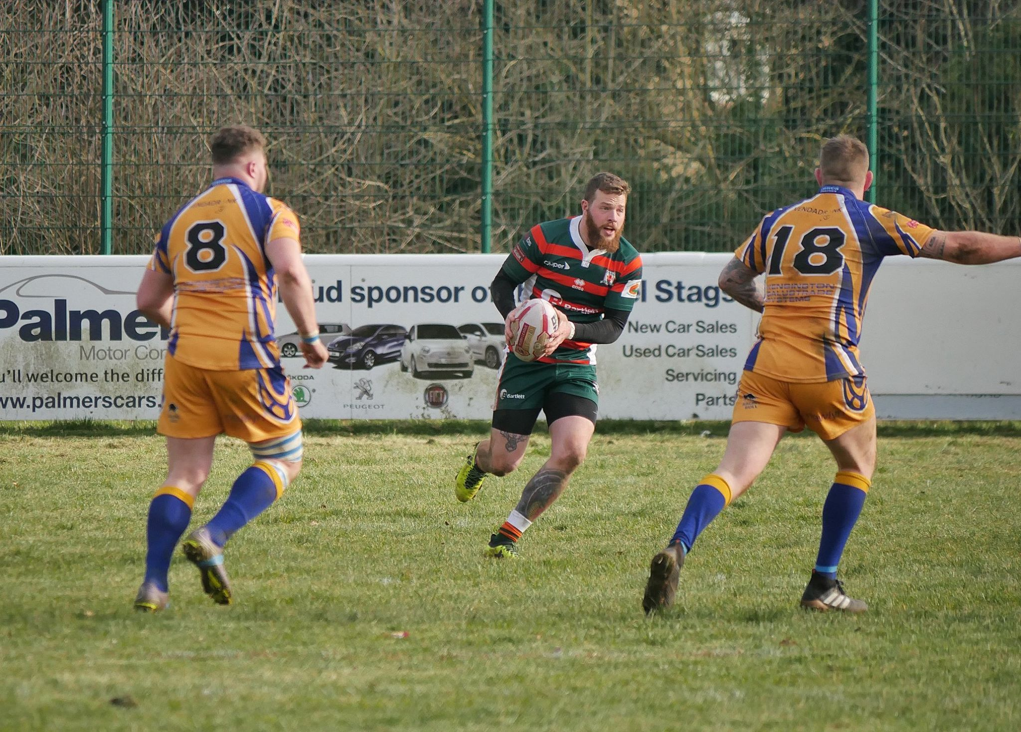 Jimmy looking for a gap against Hemel Stags